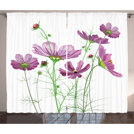 Green Flower Curtains 2 Panels Set, Cosmos Bipinnatus Pattern Spring Season Flora Asteraceae Bloom Botany Element, Window Drapes for Living Room Bedroom, 108W X 90L Inches, Lilac Green, by Ambesonne