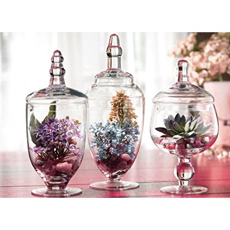 Best Palais Glassware Clear Glass Apothecary Jars - Set of 3 - Wedding Candy Buffet Containers deal