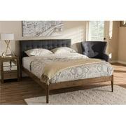 Baxton Studio Jupiter Mid-Century Modern Gray Fabric Upholstered Button-Tufted Full Size Platform Bed