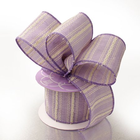 Lavender Purple with Ivory Rugged 2-1/2 inches x 10 yards Striped Cotton Wired Decorative Ribbon