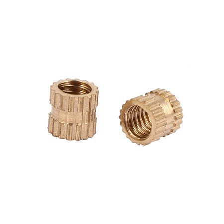 M4 x 5mm x 5.2mm Brass Injection Molding Knurled Threaded Insert Nuts 200PCS - image 2 of 3