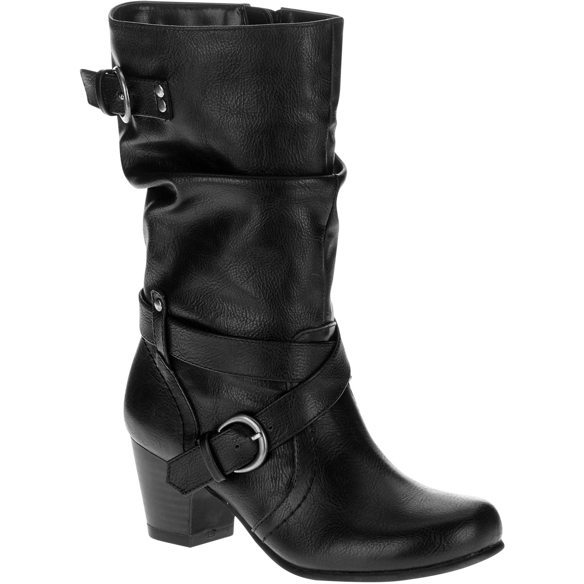 Black sandals juniors - Faded Glory Girl S Buckle Detail Dress Boot Online Only