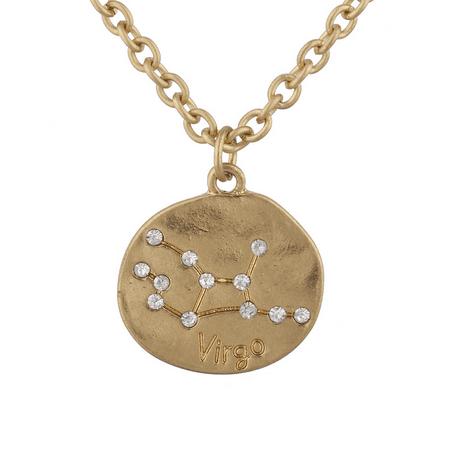 Lux Accessories Gold Tone Crystal Virgo Zodiac Constellation Horoscope - Cancer Virgo Zodiac