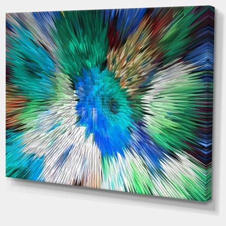 Extrusive 3D Fabric Flowers Blue - Large Floral Art Canvas Print - image 3 de 3