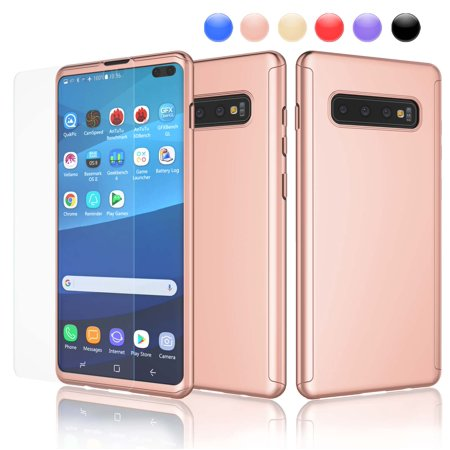 Njjex for Galaxy S10 / S10+ / S10e / S9 / S9+ / S8 / S8+ / S7 / S7 Edge / Note 9 / J4 / J6 Ultra Thin Premium Dual Layer Plastic Hard Case with Screen Protector