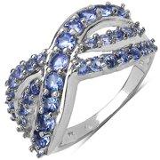 Malaika  1.49 Carat Genuine Tanzanite .925 Sterling Silver Ring