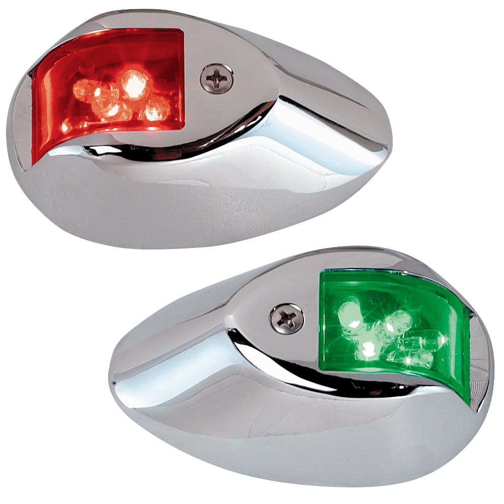 PERKO LED SIDE LIGHTS 12V RED  / GREEN W/ CHROME HOUSING