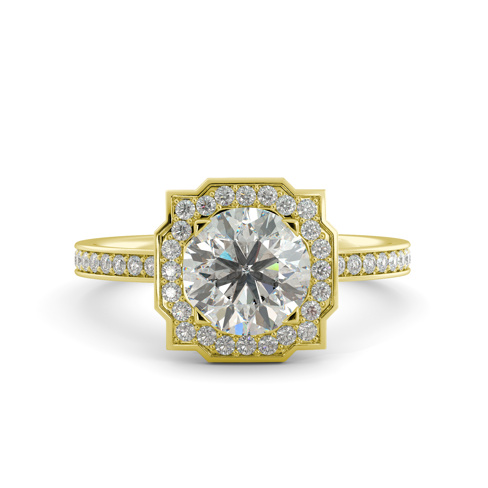 3.10 ct C&C Brilliant Moissanite Round Cut & Diamond Engagement Ring 14kYellowGold by J&H Jewelers