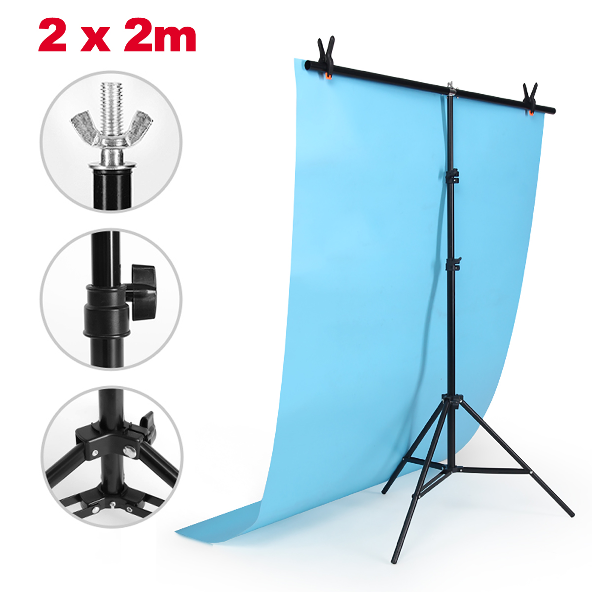 6.6ft x 6.6ft  T-type Adjustable Background Support Stand Holder Photo Video Backdrop Kit Photography