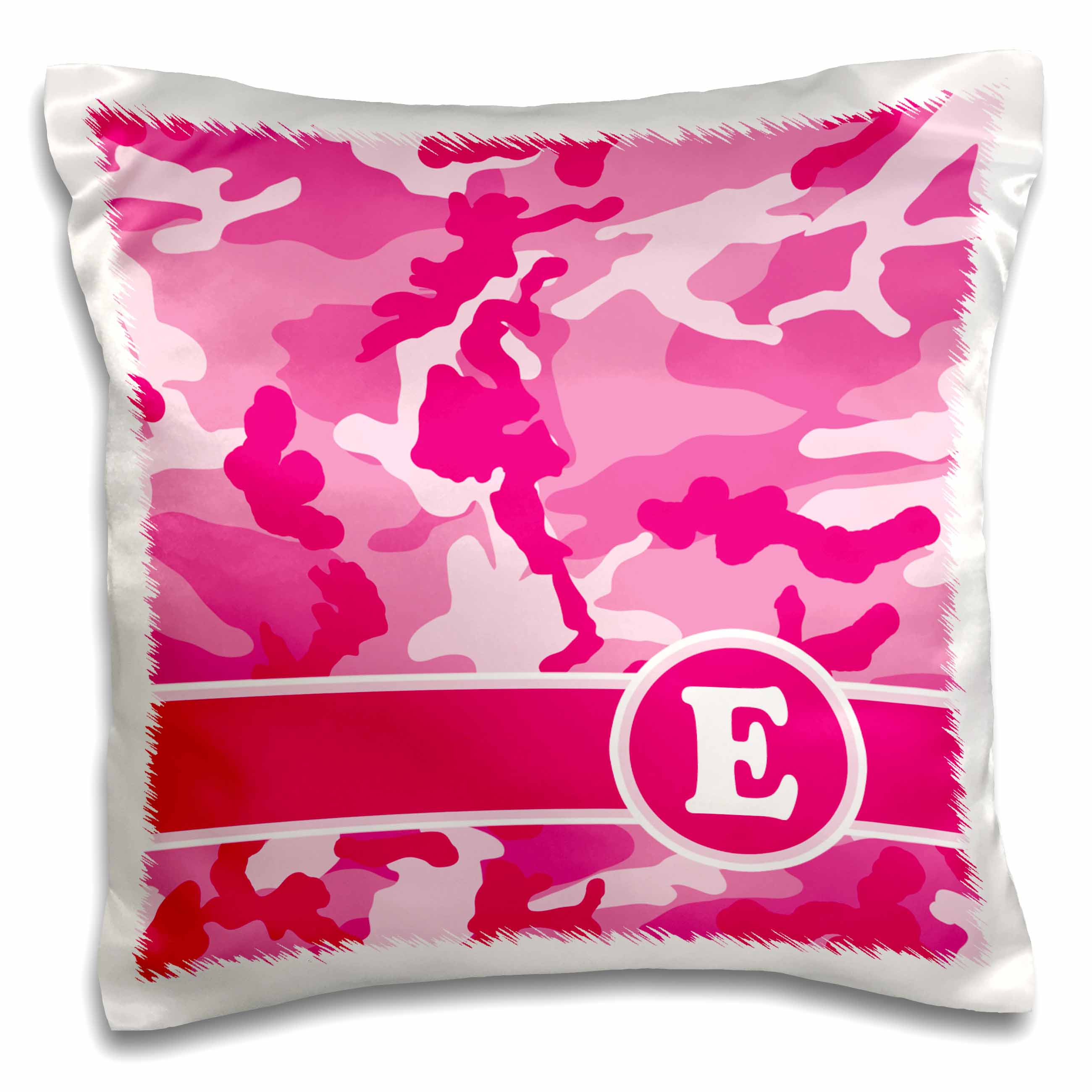 3dRose Cute Pink Camo Camouflage Letter E, Pillow Case, 16 by 16-inch