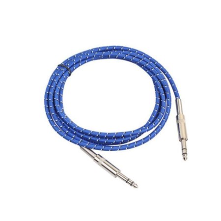 Braided Instrument Cable (Practical 6.35mm Braided Blue Audio Cable Flexible 6.35 Jack Male to Male Aux Cables for Guitar Mixer Amplifier)