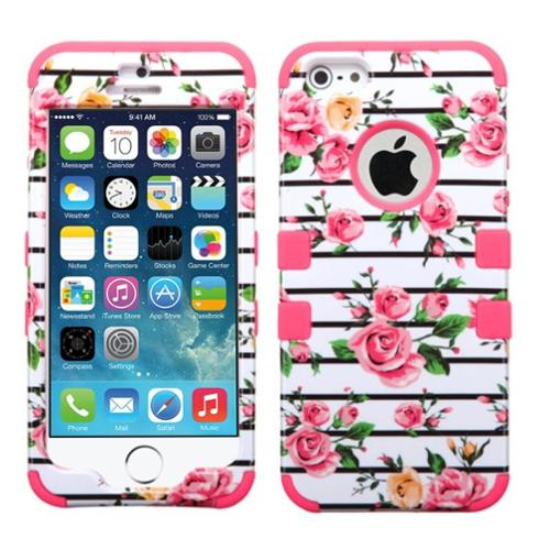 Insten Pink Fresh Roses/Electric Pink Hybrid Tuff Dual-Layer Protective Case For iPhone SE 5S 5 5th