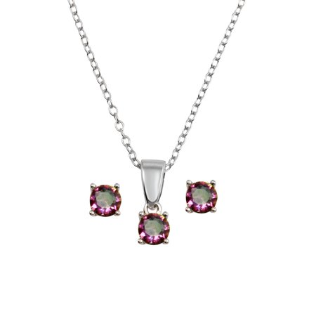 Channel Set Rainbow Gem - Rainbow Cubic Zirconia Round Earrings Necklace Set Sterling Silver