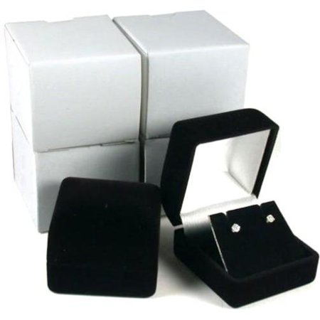 4 Black Flocked Earring Gift Boxes Jewelry Box