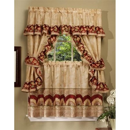 Sunflower Cottage Set - 57 in. x 24 in. Tier Pair-57 in. x 36 in. Ruffled Topper with attached valance and tiebacks.