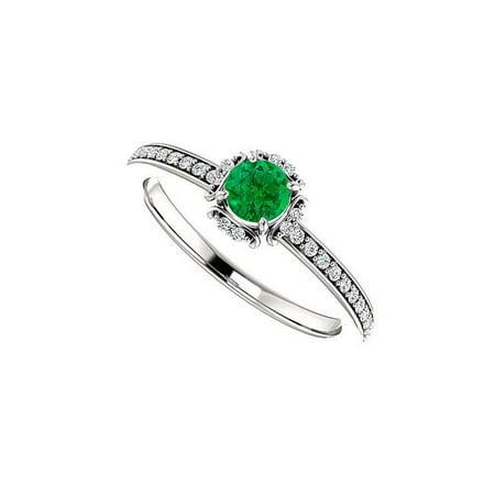 0.75CT Emerald Cubic Zirconia Silver Engagement Unique Halo Pattern Ring, Size 6 - image 1 de 1