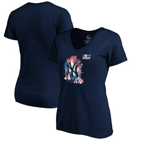 New York Yankees Majestic Women's 2019 London Series Splatter V-Neck T-Shirt -