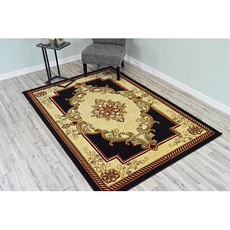 GLAMOUR 3D Hand Carved Traditional Rug Oriental Floral 2'6''x4' Black -