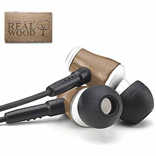 GOgroove WD Premium Walnut Wood Headphones with In-line Microphone , Works with Apple / Samsung LG / HTC and More Smartphones