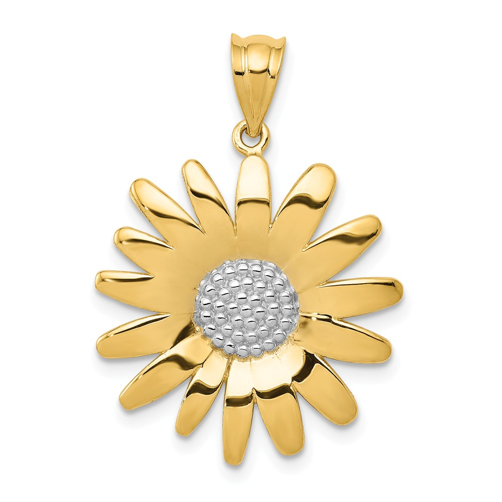 14K Yellow Gold and Rhodium Sunflower Pendant