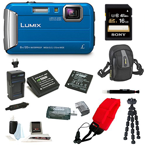 Panasonic DMC-TS30K LUMIX Digital Camera (Blue) with 16GB Accessory Bundle