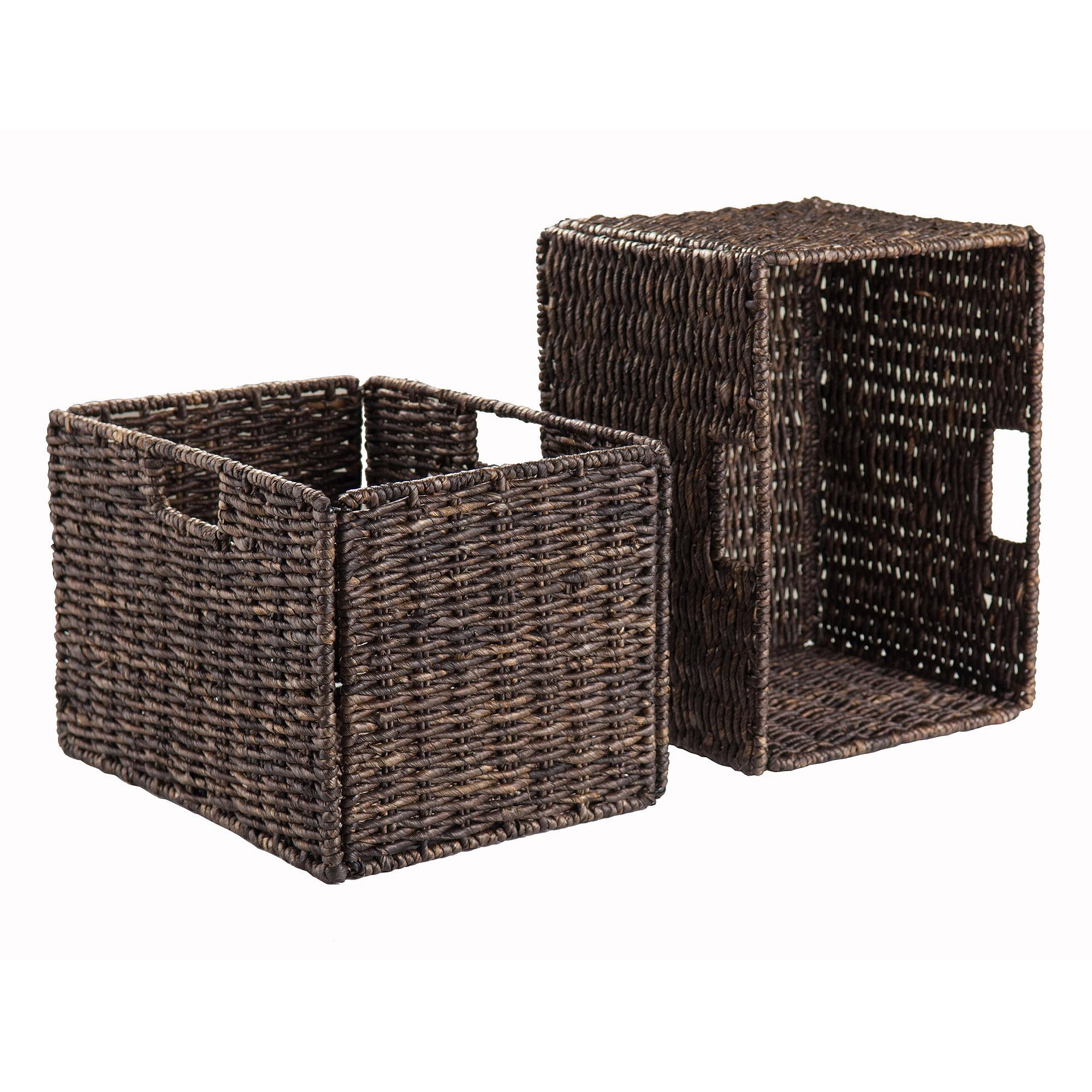 Large Foldable Corn Husk Baskets, Chocolate, Set of 2