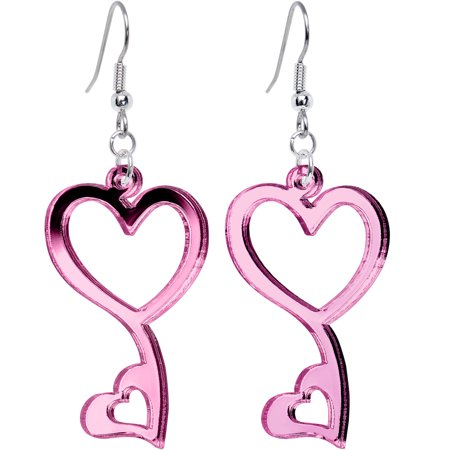 Double Heart Dangle Earrings (Body Candy Pink Mirror Gleaming Double Hollow Heart Dangle)