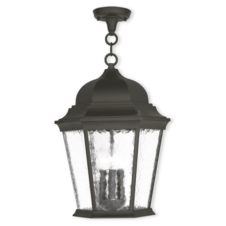 Outdoor Pendants 3 Light Hamilton With Clear Water Glass Textured Black size 13 in 180 Watts - World of Crystal