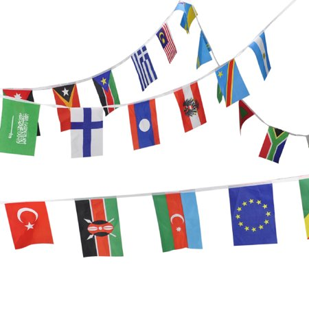 Aspire 8.2X5.5 inches String Of International Flags For Party Events Olympic Decorations, Festivals Flag Pennants - Up to 200 Counties-Multinations-42.6 feet ()