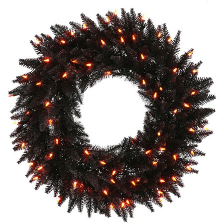 Vickerman Black Fir Pre-Lit Wreath - Orange Lights