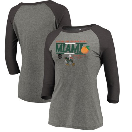 Miami Hurricanes Fanatics Branded Women's 2017 Orange Bowl Bound Drive 3/4 Sleeve Raglan T-Shirt - Heathered Gray - Miami Heat Halloween 2017