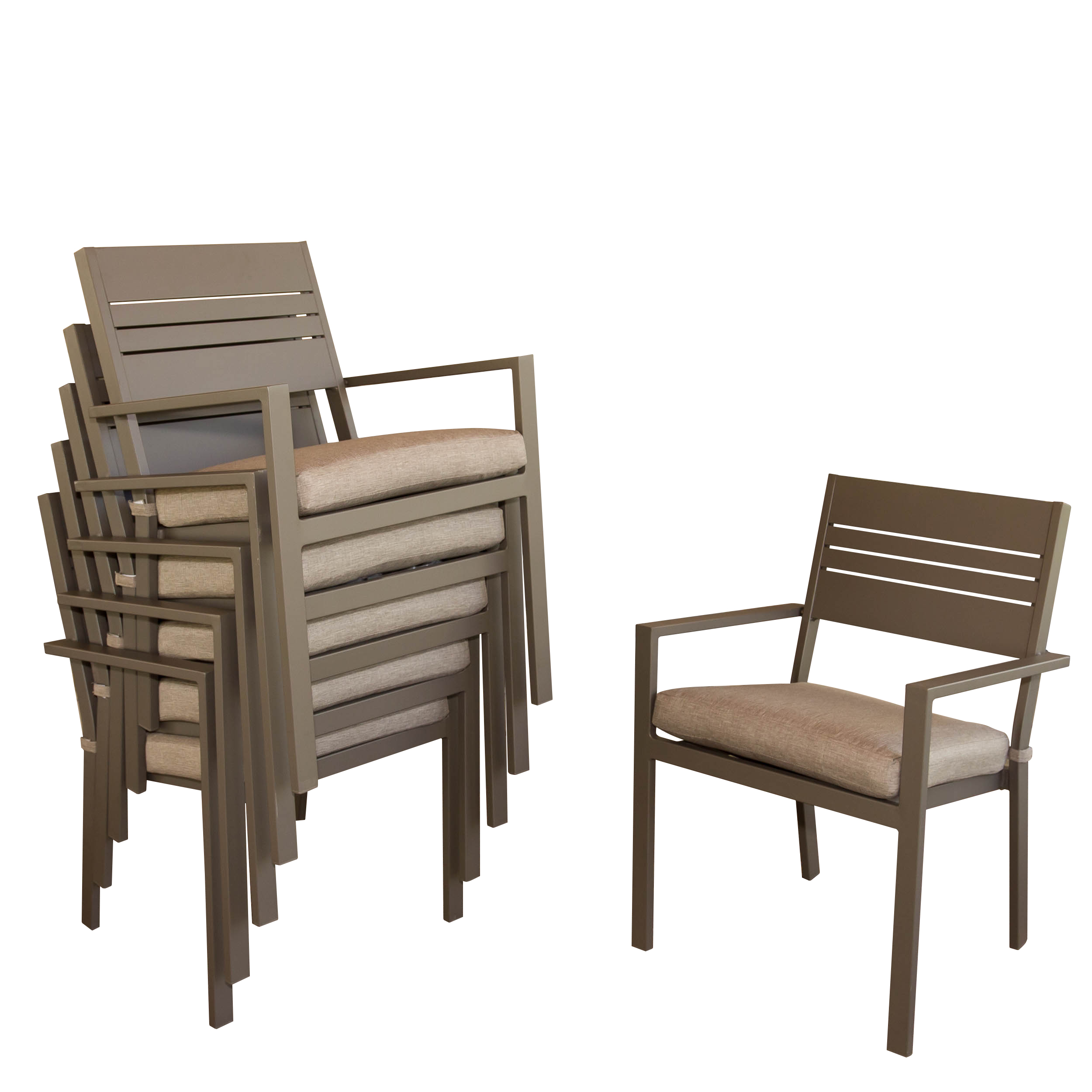 Michael Anthony Kaufmann Aluminum Stackable Dining Chair Set with Cushions