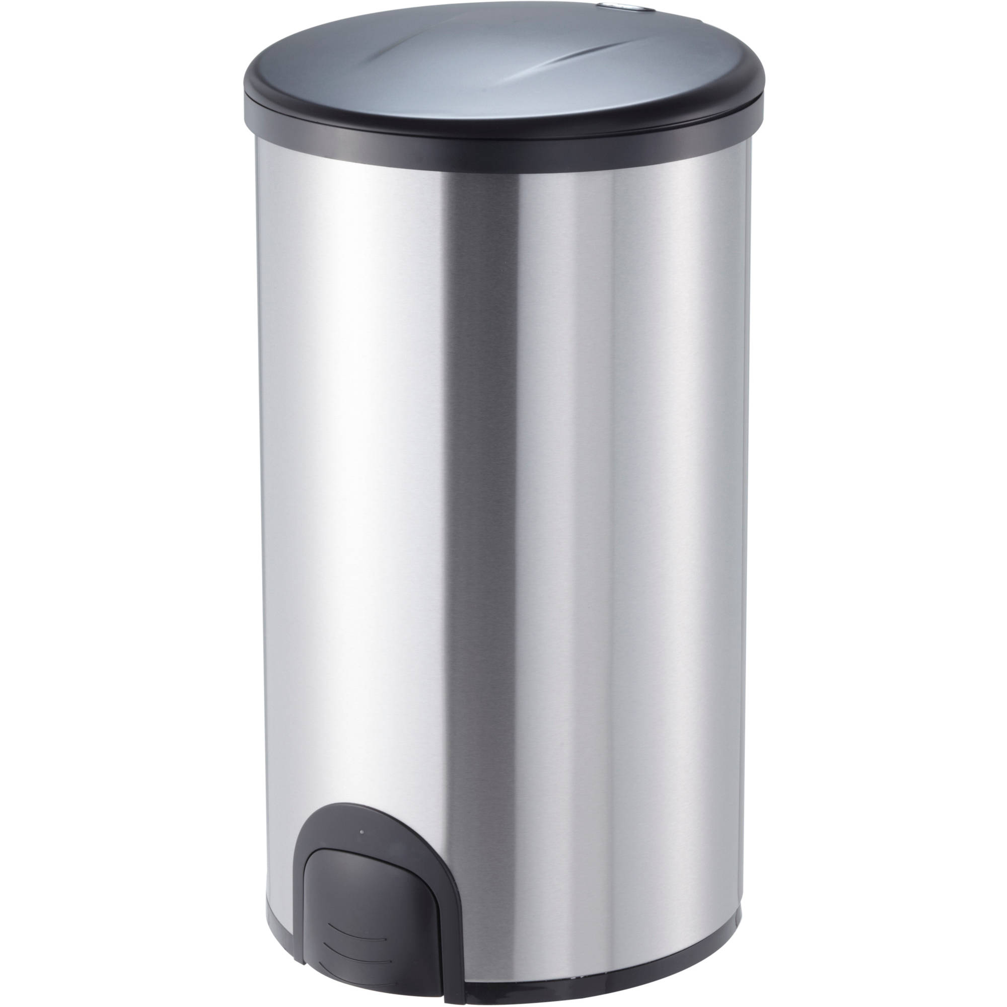 Nine Stars Toe Tap 11.9-Gallon Trash Can, Stainless Steel