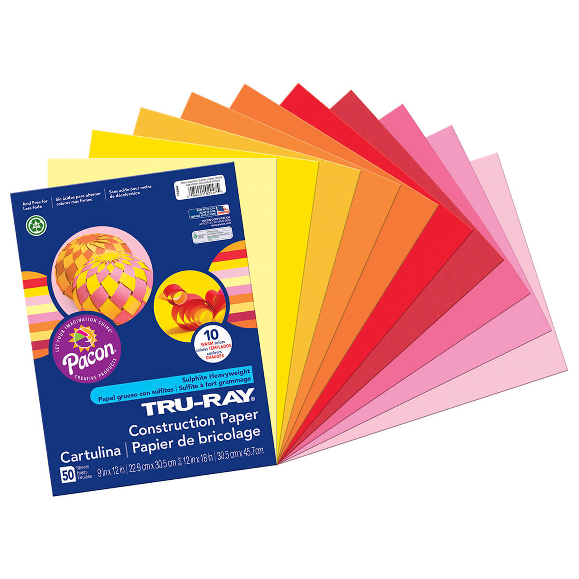 "Pacon® Tru-Ray® Construction Paper, 9"" x 12"", Warm Colors - 50 Sheets per pack, 6 packs"