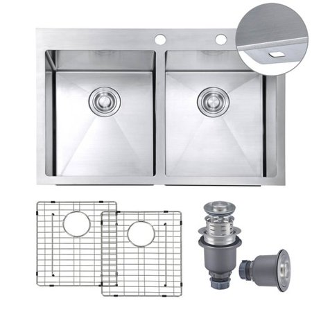MOWA Handmade 33'' L x 22'' W Double Basin Drop-In Kitchen Sink with Sink Grid and Drain Assembly (Set of 3) (Double Basin Set)