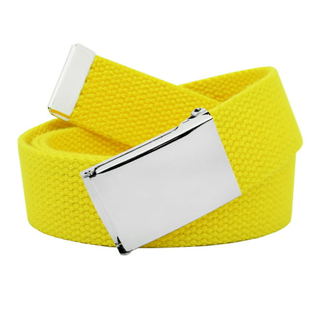 Image of Men's Classic Silver Flip Top Military Buckle with Canvas Web Belt Large Yellow
