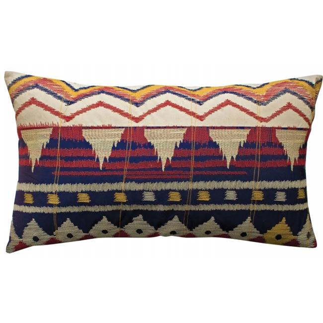 Koko Company 91681 Java- Pillow- 15X27- Cotton- Ikat Inspired- Embroidery And Applique.