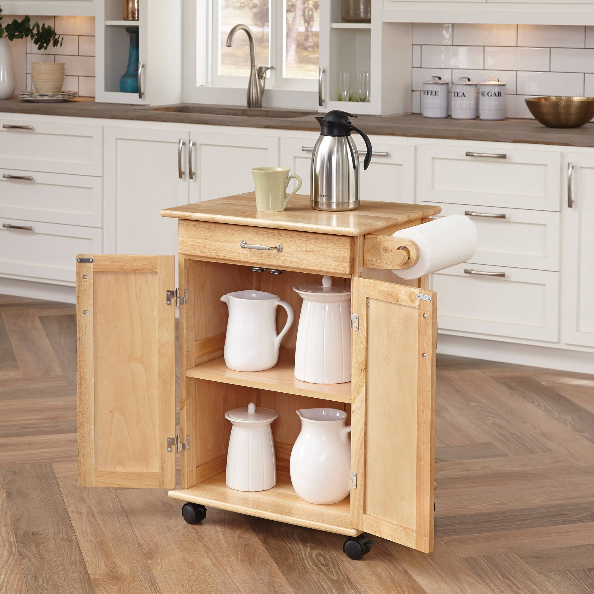 Bon Home Styles Solid Wood Kitchen Cart, Natural   Walmart.com