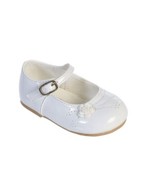 Girls White Flower Applique Patent Leather Mary Jane Dress Shoes