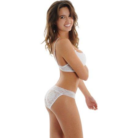 2f80aa9a07259 Spree - Juniors White Push Up Bra Low Rise Panty Set Matching Sheer Panties  2 Piece - Walmart.com