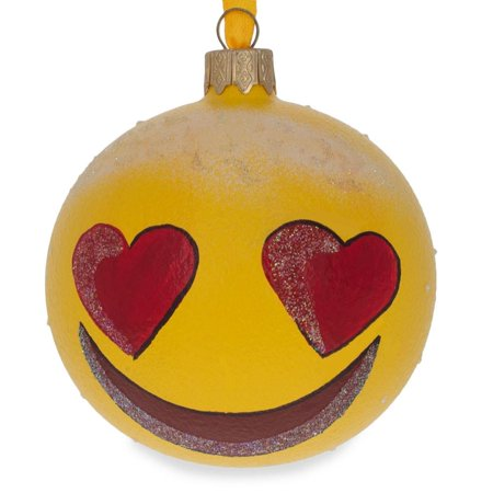 BestPysanky Heart Eyes In Love Emoji Glass Ball Christmas Ornament 3.25 Inches