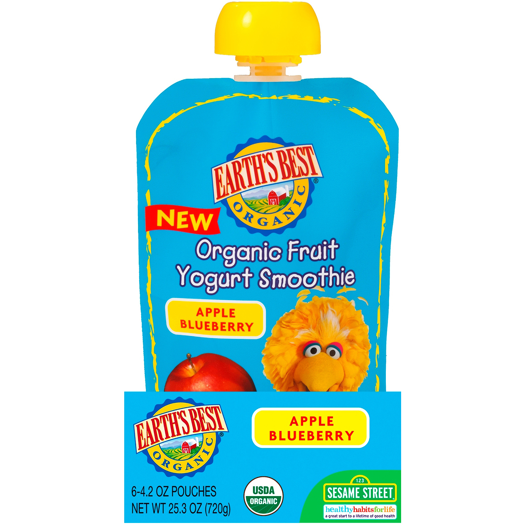 Earth's Best Organic Sesame Street Apple Blueberry Fruit Yogurt Smoothie, 4.2 oz, (Pack of 6)