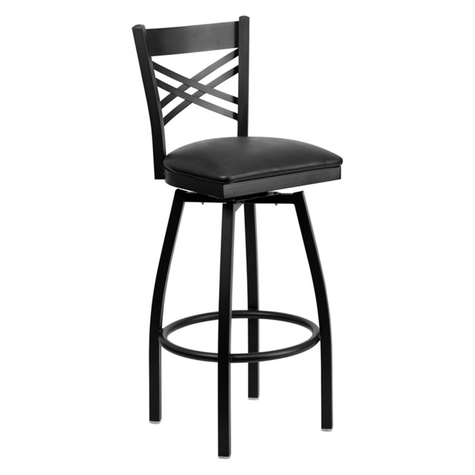 "Flash Furniture HERCULES Series Black ""X"" Back Swivel Metal Barstool, Vinyl Seat, Multiple Colors"