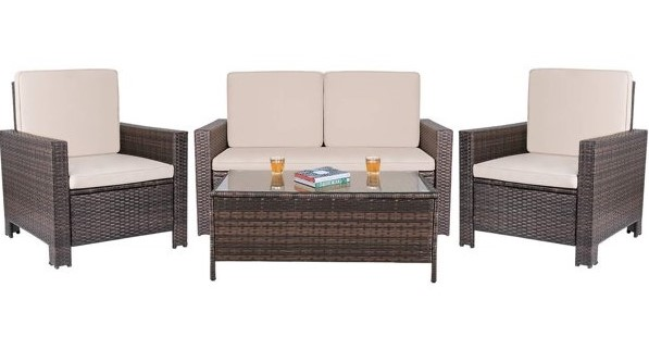 Outdoor Wicker Sectional Furniture Set Patio Conversation Set with Removable Cushions /& Pillows for Backyard Porch Garden Poolside Balcony Brown Tangkula 4 PCS Patio Rattan Sofa Set