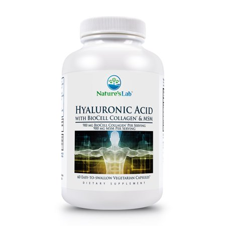 Hyaluronic Acid with BioCell Collagen & MSM 900 mg - 60 Capsules by Nature's (Biocell Collagen Type)