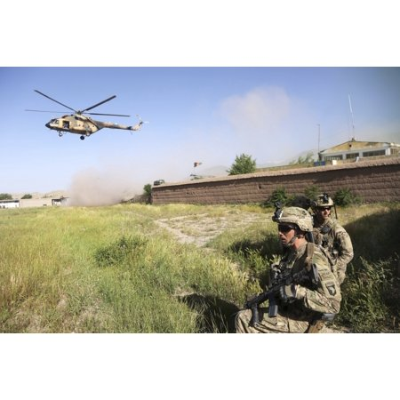 Us Army Air Force - May 14 2013 - US Army Soldiers secure a landing zone for Afghan Air Force Mi-17s outside of Hesarak Nangarhar province Afghanistan Poster Print