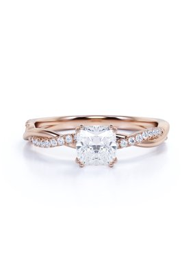 1 Carat Cushion Cut Diamond Twist Band Engagement Ring in Solid 10k Rose Gold