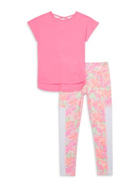 Athletic Works Girls 4-18 & Plus Active T-Shirt & Printed Legging