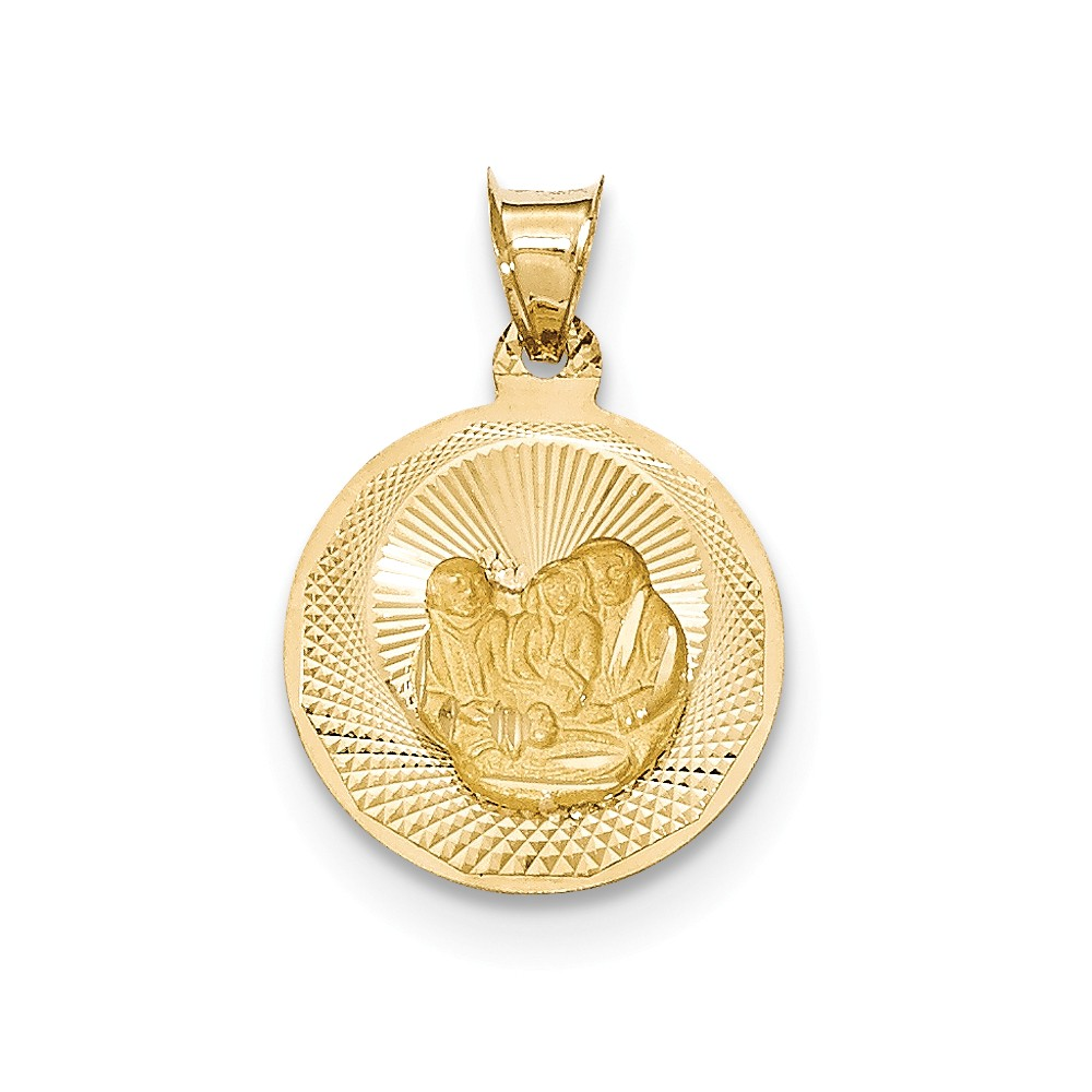 14k Yellow Gold Polished and Diamond Cut Baptism Circle Pendant