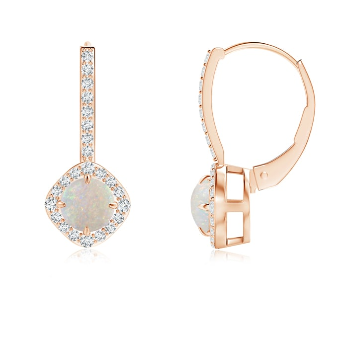 Angara 5mm Opal Claw Set Diamond Halo Opal Leverback Earrings in Platinum, October Birthstone by Angara.com